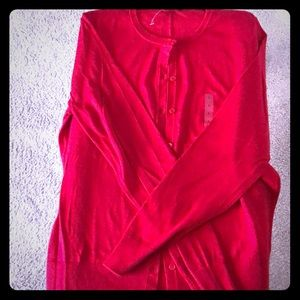 Red Ann Taylor Factory Cardigan, New, Never Worn